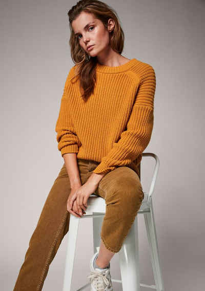 comma casual identity Langarmshirt »Strickpullover mit Wollanteil« (1-tlg) Label-Patch