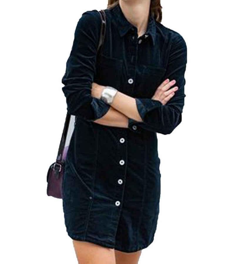JACQUELINE de YONG Minikleid »JACQUELINE de YONG Fann Kleid cooles Damen Cord-Kleid mit langen Ärmeln Freizeit-Kleid Schwarz«