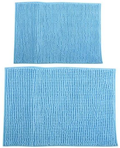 Badematte »CHENILLE«, MSV, Badteppich 2er Kombi-Set, bestehend aus 2 Größen 40x60 und 60x90 cm, 100% Polyester Microfaser, rutschhemmende Beschichtung, waschbar 30°, schnelltrocknend, viele angesagte Trendfarben, hellblau