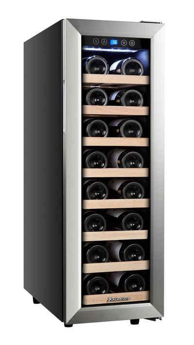 kalamera Weinkühlschrank KRC-75ASS, für 21 Standardflaschen á 0,75l,5-18 °C,Edelstahl Glastür,Touchscreen mit Blaue LED Anzeige