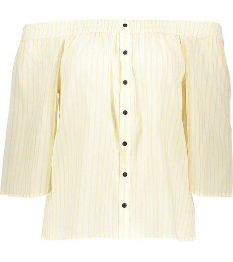 Vero Moda Blusentop »VERO MODA Bluse Cluna modernes Damen Sommer-Shirt Freizeit-Shirt mit freien Schultern Weiß/Gelb«
