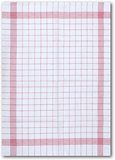 Dyckhoff Geschirrtuch »KARO / Halbleinen - 50x70 cm«, (Set, 10-tlg)