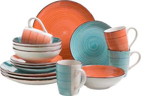 Home affaire Kombiservice »Malaika« (16-tlg), Keramik, handgemaltes Spiraldekor