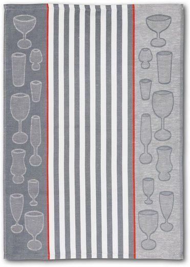 Dyckhoff Geschirrtuch »Gläser / Halbleinen«, (Set, 10-tlg)