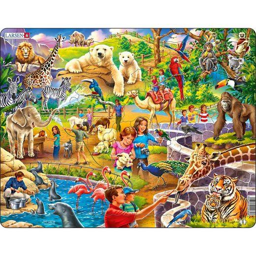 Larsen Rahmen-Puzzle, 48 Teile, 36x28 cm, Zoo