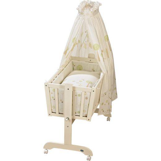Alvi® Pendelwiege Sandy komplett, weiß, Tiergarten, beige