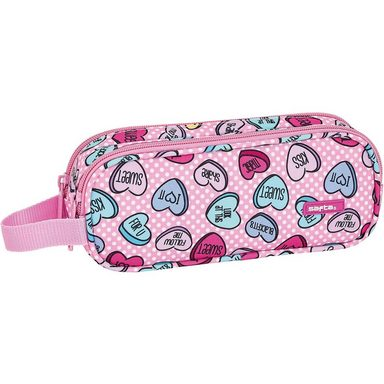 safta Schlampermäppchen 2 Zipper Sweet Heart Pink