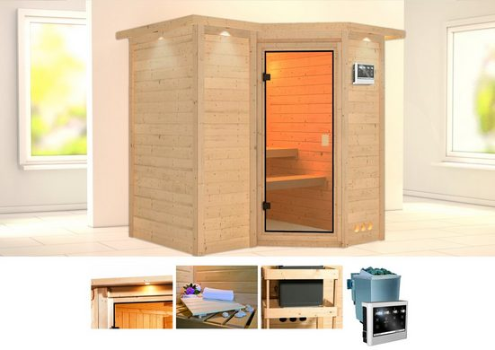 KARIBU Sauna »Sahib 1«, 221x198x212 cm, 9 kW Bio-Ofen mit ext. Steuerung, Dachkranz