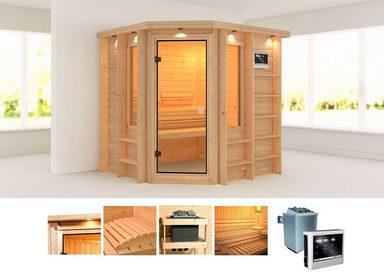 KARIBU Sauna »Cortona«, 218x198x212 cm, 9 kW Ofen mit ext. Steuerung, Dachkranz