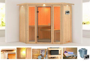 KARIBU Sauna »Flora 1«, 210x210x202 cm, 9 kW Bio-Ofen mit ext. Steuerung, Dachkranz