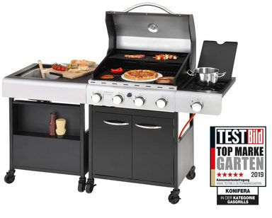 KONIFERA Gasgrill »LANGLEY«, BxTxH: 157x53x108 cm, inkl. Pizzastein und Küchenwagen