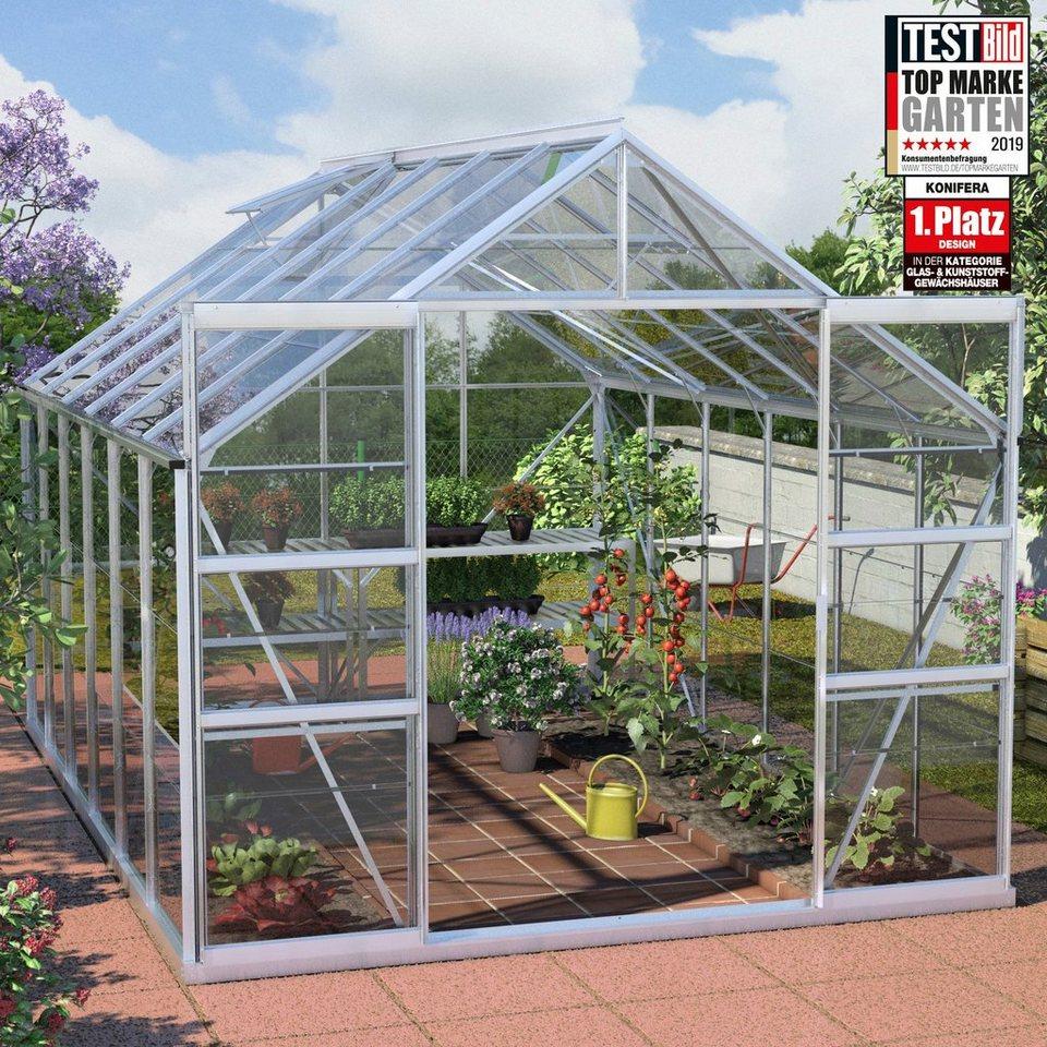KONIFERA Set: Gewächshaus »Calisto 9900«, BxTxH: 257x383x232 cm, Glas,  inkl. Fundamentrahmen online kaufen | OTTO