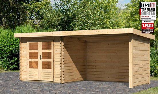 KONIFERA Set: Gartenhaus »Ringköbing 2«, BxT: 572x273 cm, inkl. Anbaudach mit Seiten- und Rückwand