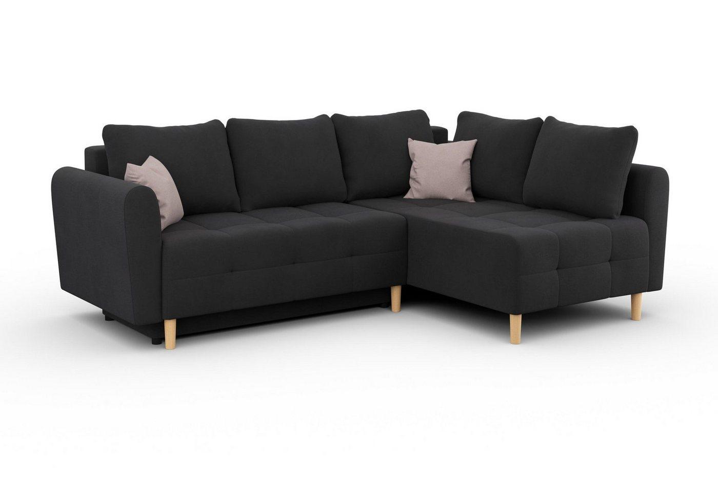 Sofas - Home affaire Ecksofa »Nordic« mit Bettfunktion und Bettkasten, Steppung im Sitzbereich  - Onlineshop OTTO