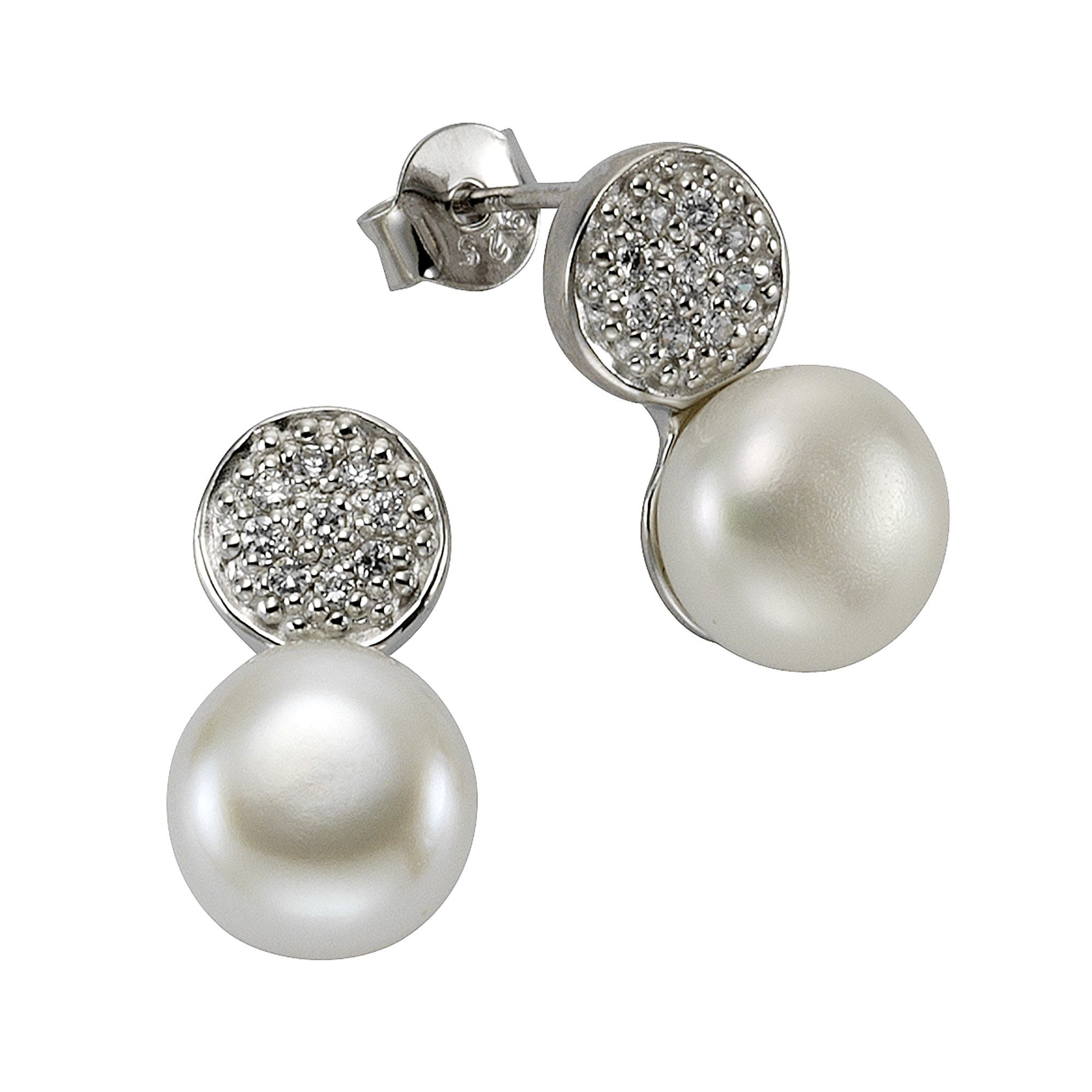Silber Kaufen Perle »925Sterling Weiß« Ohrstecker Zirkonia Zeeme Online trCQdshx