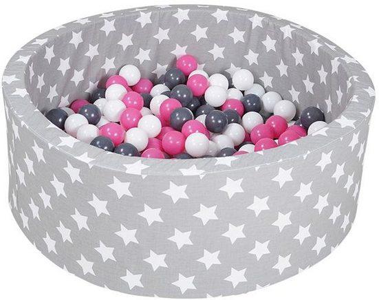 Knorrtoys® Bällebad »soft, Grey white stars«, mit 300 Bällen creme/grey/rose