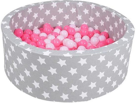 Knorrtoys® Bällebad »Soft, Grey white stars«, mit 300 Bällen soft pink; Made in Europe