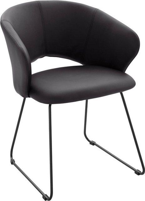 Stühle und Bänke - INOSIGN Esszimmerstuhl »Plymouth« mit einem schönen Kunstleder Bezug und einem schwarzen Metallgestell in Kufen Form, Sitzhöhe 47 cm  - Onlineshop OTTO