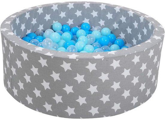Knorrtoys® Bällebad »soft, Grey white stars«, mit 300 Bällen balls/soft blue/blue/transparent