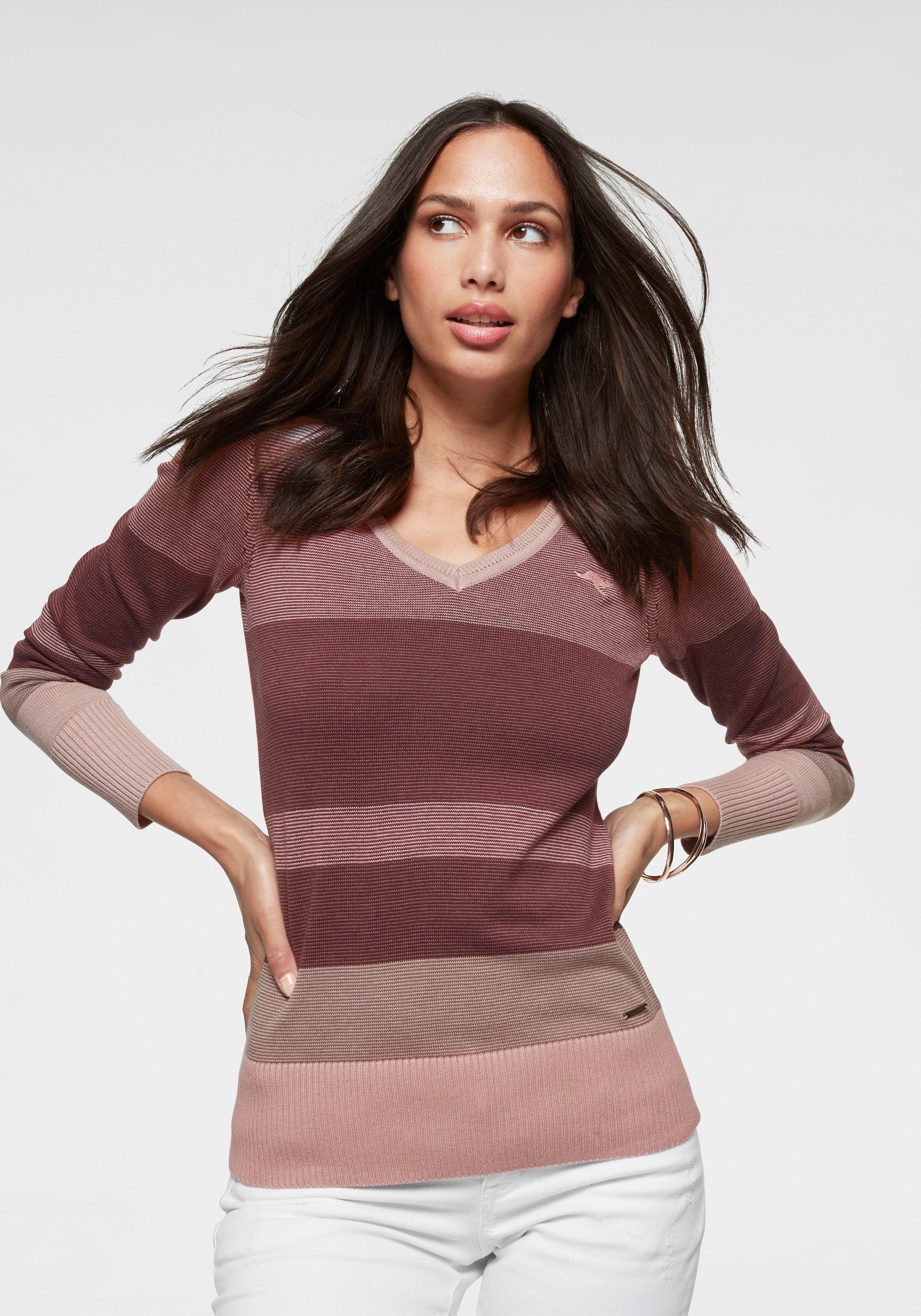 KangaROOS V Ausschnitt Pullover im Multicolor Streifenmuster online kaufen | OTTO