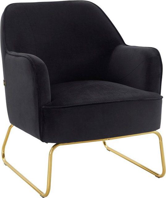 Sessel und Hocker - Leonique Sessel »Semois«, aus schönem weichen Velvet Bezug, mit messingfarbenen Beingestell aus Metall, Sitzhöhe 43 cm  - Onlineshop OTTO