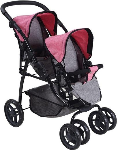 Knorrtoys® Puppen-Zwillingsbuggy »Milo - jeans grey«