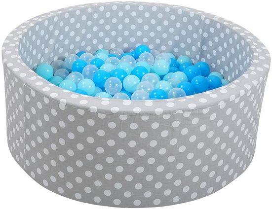 Knorrtoys® Bällebad »soft, Grey white dots«, mit 300 Bällen soft blue/blue/transparent
