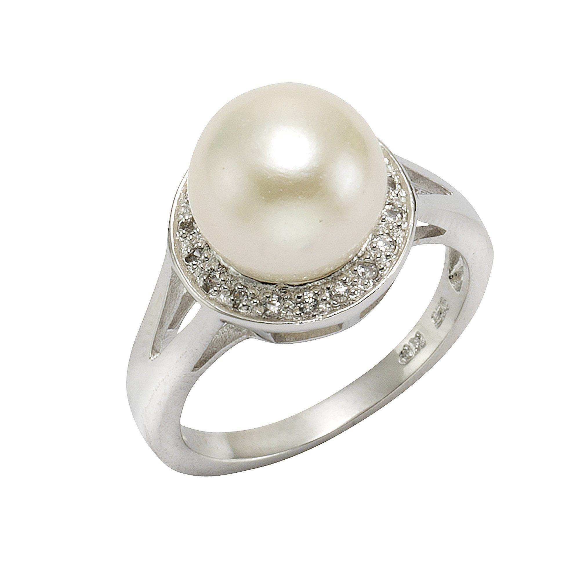 Perle Zeeme Online »925Sterling Zirkonia Ring Weiß« Und Silber Kaufen VzMqUSp
