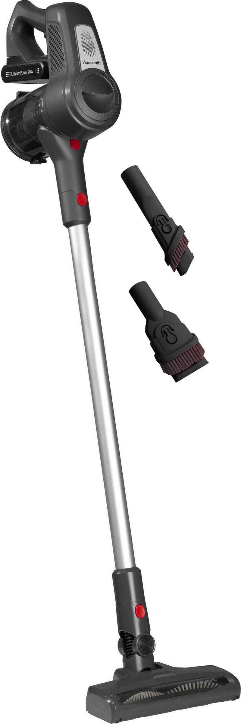 Hanseatic Akku-Stielstaubsauger VC-PD510-1, 120 Watt, beutellos, müheloses kabelloses saugen für einen schnellen Einsatz