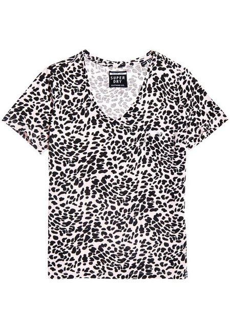 Superdry V-Shirt »OL ESSENTIAL V-NECK TEE« im Animal-Design | Bekleidung > Shirts > V-Shirts | Superdry