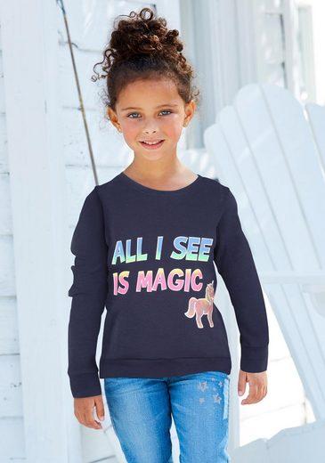 Arizona Langarmshirt »All I see is magic« mit Schriftzug und Glitterdruck