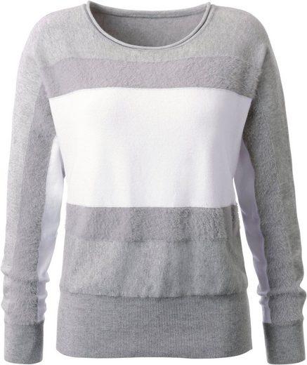 Classic Inspirationen Pullover mit Streifen in Fell-Optik