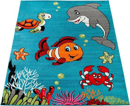 Kinderteppich »ECE 950«, Paco Home, rechteckig, Höhe 14 mm, Kurzflor, Kinder Teppich, Unterwasserwelt
