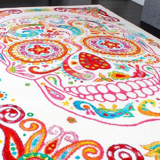 Teppich »Canvas 982«  Paco Home  rechteckig  Höhe 18 mm  Kurzflor mit Totenkopf Design