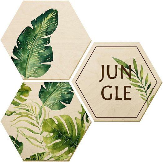 Holzbild »Kvilis - Jungle«, (Set, 3 Stück)