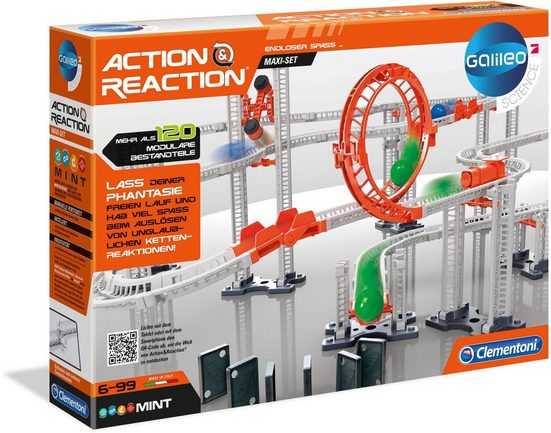 Clementoni® Kugelbahn »Galileo - Action & Reaction - Maxi Set«, (120-tlg), Made in Europe
