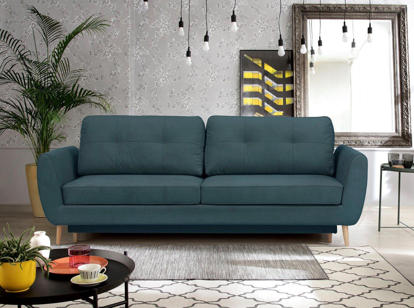 Wajnert 3-Sitzer, mit Bettfunktion und Bettkasten | Wohnzimmer > Sofas & Couches > 2 & 3 Sitzer Sofas | Blau | Wajnert