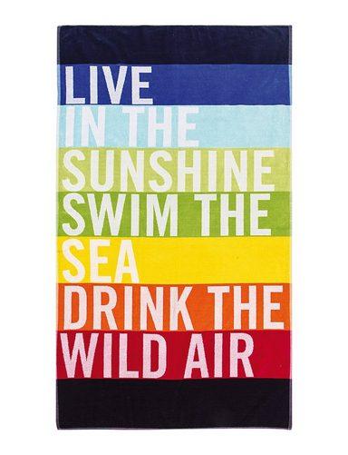 Strandtuch »Live«, Lashuma, großes Strandlaken mit Schriftzug