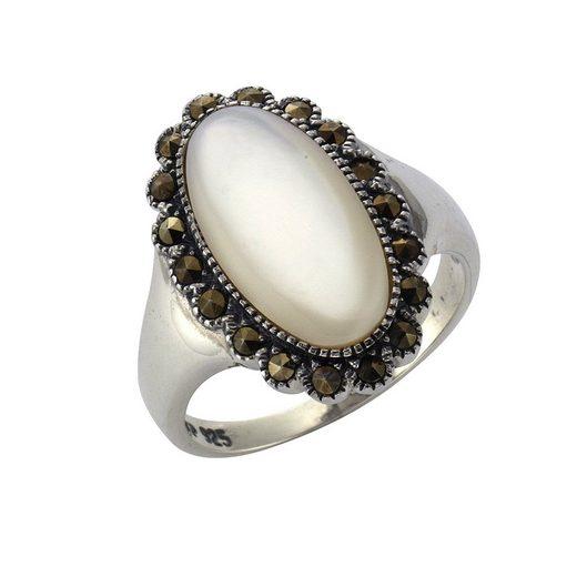 Zeeme Ring »925/- Sterling Silber Perlmutt Markasit«