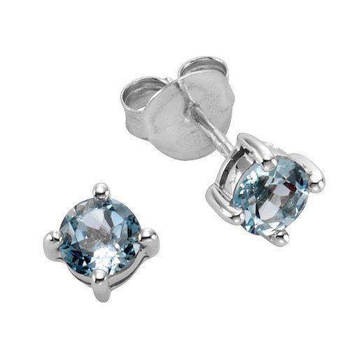 Zeeme Paar Ohrstecker »925/- Sterling Silber Blautopas«