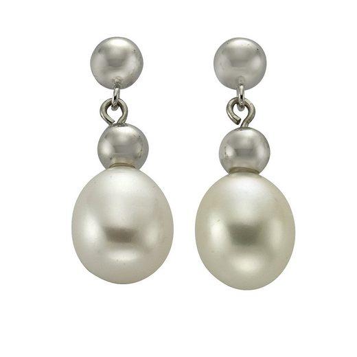 Zeeme Ohrhänger »925/- Sterling Silber Perle oval«
