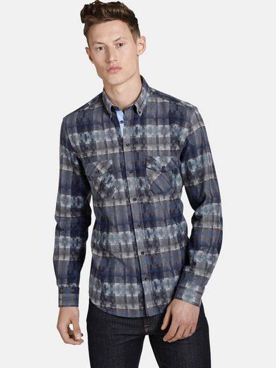 SHIRTMASTER Langarmhemd »squaresandtees« mit farblichen Akzenten