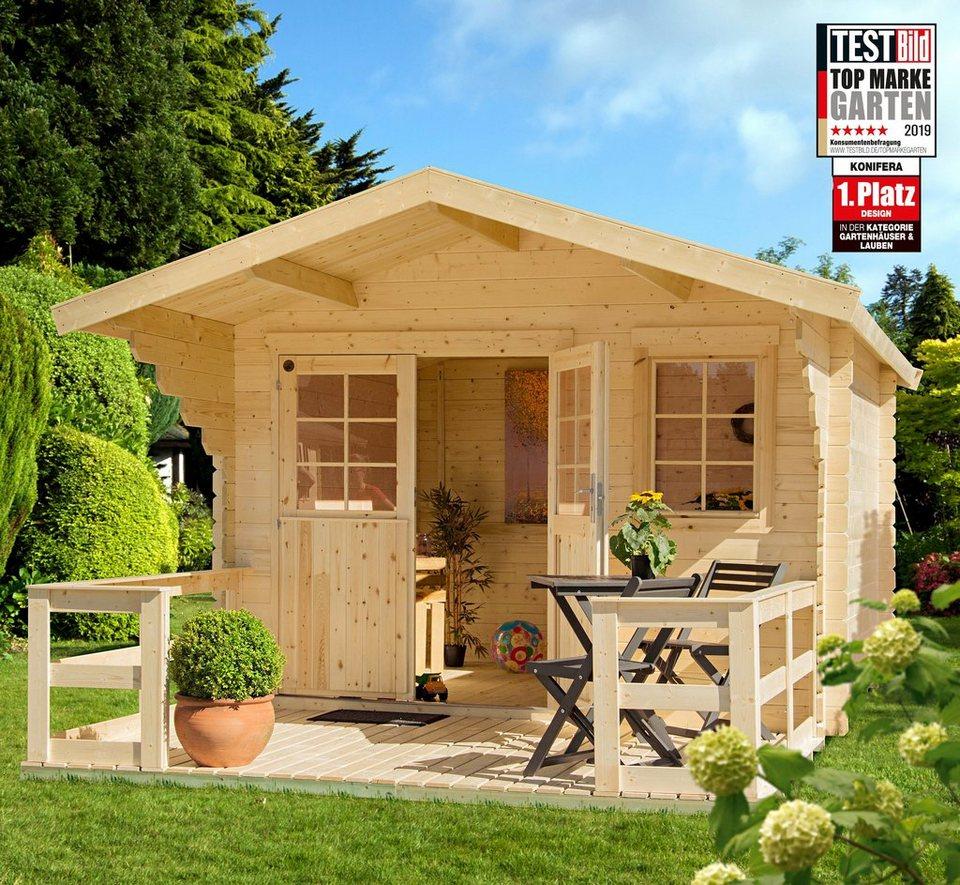 KONIFERA Set: Gartenhaus »Lillevilla 265«, BxT: 350x440 cm, inkl. Terrasse,  Vordach und Fußboden online kaufen | OTTO