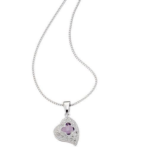 Diamonds by Ellen K. Anhänger mit Kette »925/- Sterling Silber Diamant Amethyst«