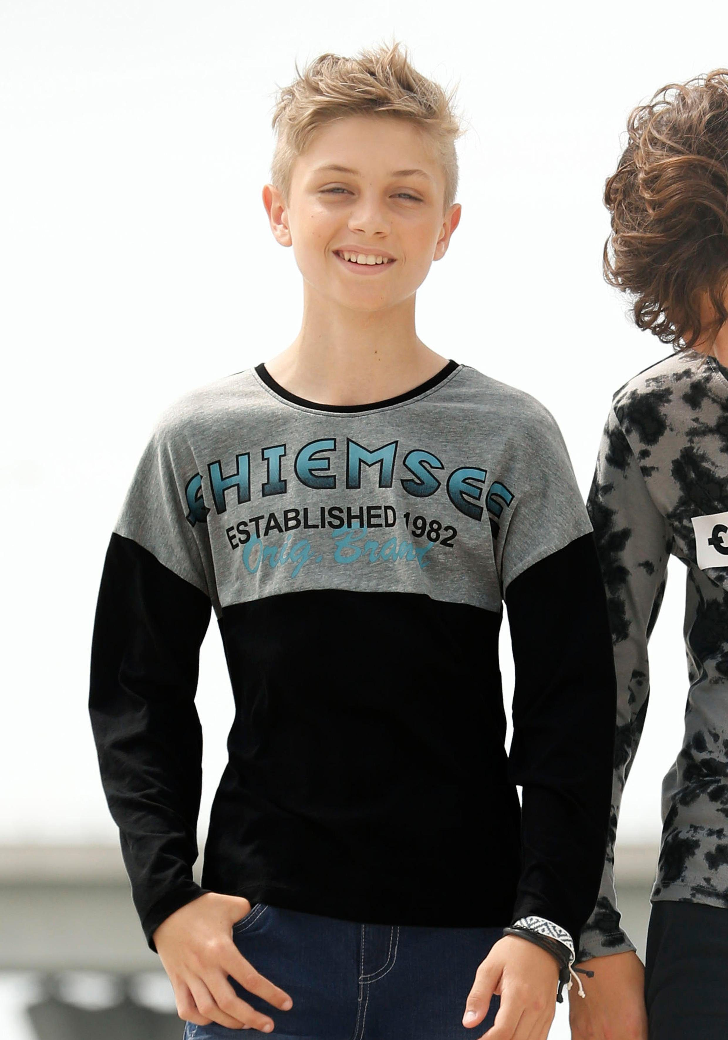 Chiemsee Langarmshirt mit großem Druck vorn, In lässiger Form mit überschnittener Schulter online kaufen | OTTO