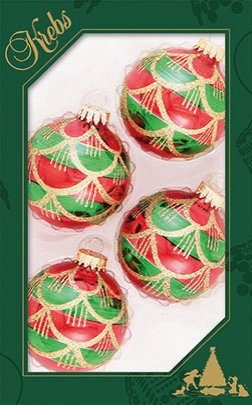 Krebs Glas Lauscha Weihnachtsbaumkugel »CBK50084« (4 Stück), goldfarbenen Vorhängen