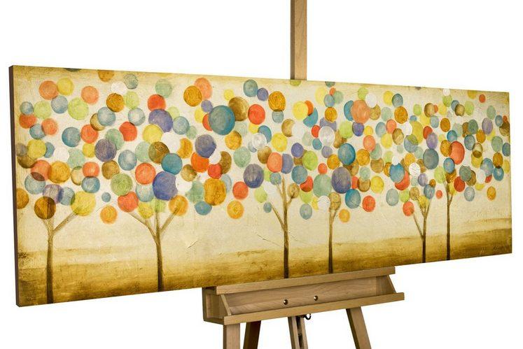 KUNSTLOFT Gemälde »Buntes Herbstlaub«, handgemaltes Bild auf Leinwand