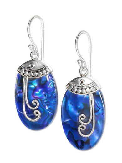 Adelia´s Paar Ohrhänger »Paua-Muschel Ohrschmuck Ohrhänger - 925 Silber« Paua-Muschel Ohrschmuck Ohrhänger - 925 Silber - blau