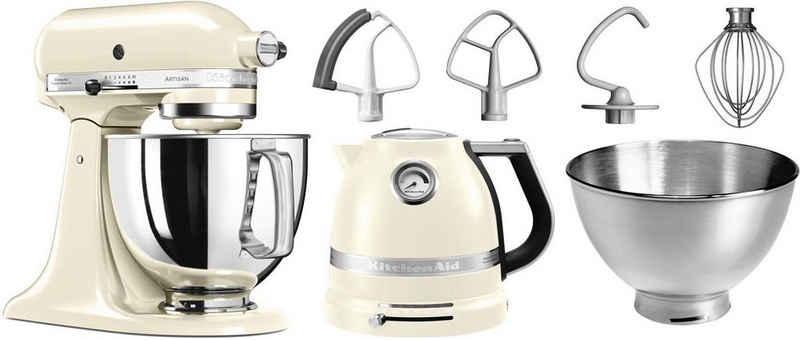 KitchenAid Küchenmaschine Artisan 5KSM175PSEAC, 300 W, 4,8 l Schüssel, mit Gratis Wasserkocher, 2. Schüssel, Flexirührer. Farbe: Créme