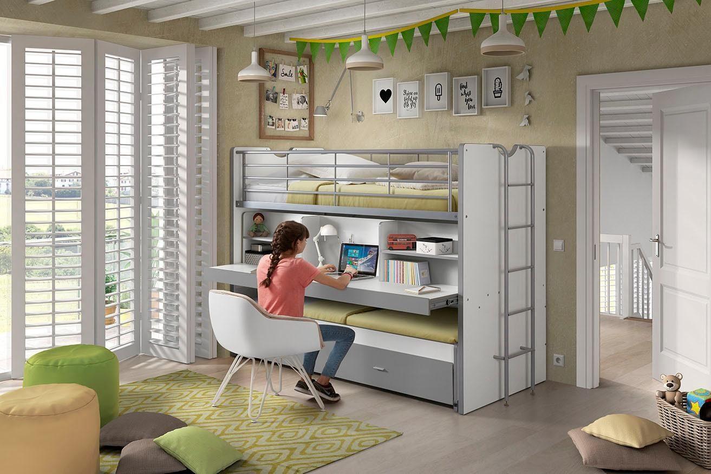 Vipack Hochbett »Bonn« mit Schreibtisch und 3 Schlafgelegenheiten online kaufen | OTTO